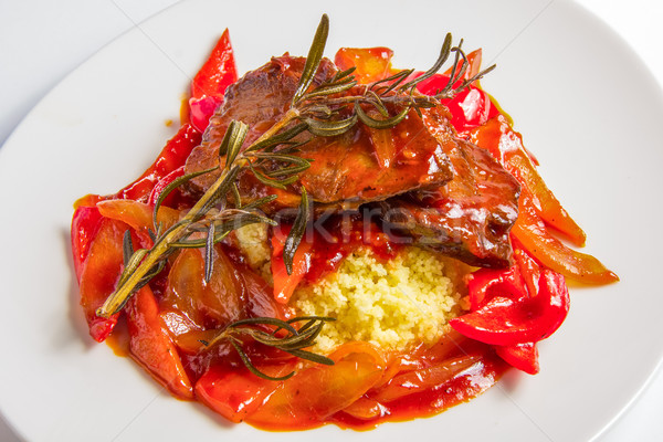 Couscous with lamb in sweet and sour tomato sauce. Stock photo © master1305
