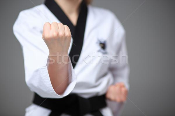 Karate Mädchen schwarz Gürtel Hand weiß Stock foto © master1305