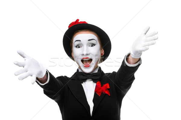 Portret verwonderd blijde Open mond vrouw Stockfoto © master1305