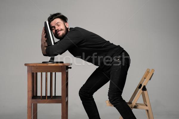 Vicces őrült férfi számítógéphasználat szürke emberi Stock fotó © master1305