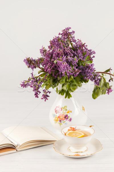 чай лимона букет сирень таблице открытых Сток-фото © master1305