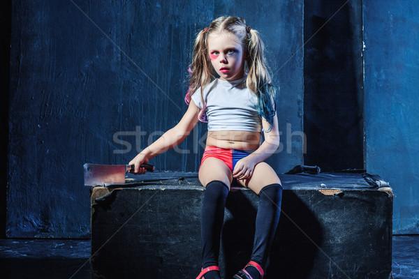 кровавый Хэллоуин смешные девушки ножом темно Сток-фото © master1305