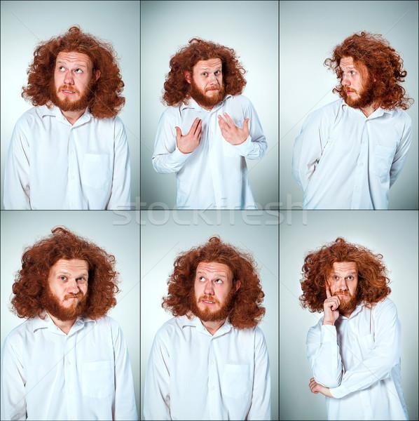Portret młody człowiek wyraz twarzy długo Zdjęcia stock © master1305
