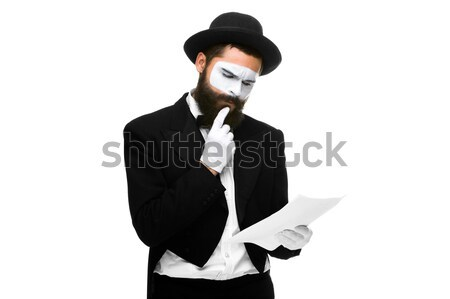 pensive mime as a businessman reading the list of paper  Stock photo © master1305