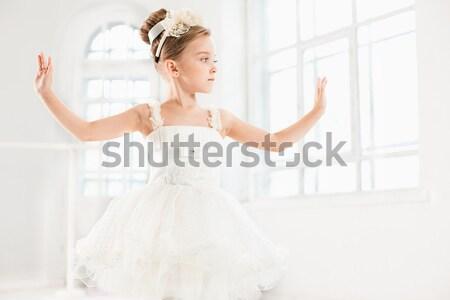 Professionele balletdanser poseren witte ballerina danser Stockfoto © master1305