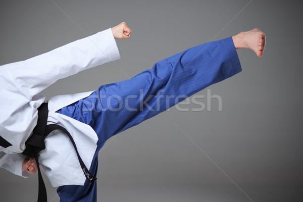Karate lány fekete öv kéz láb Stock fotó © master1305