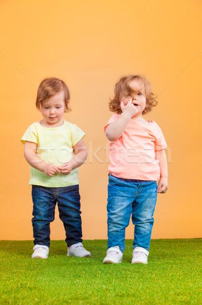 Mutlu komik kız ikizler oynama Stok fotoğraf © master1305