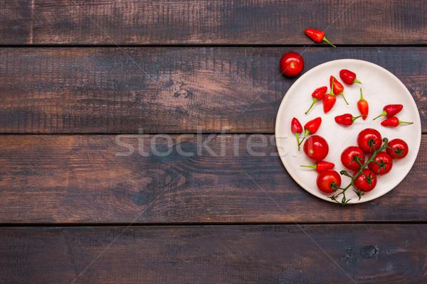 помидоры черри чили деревянный стол Top мнение Сток-фото © master1305