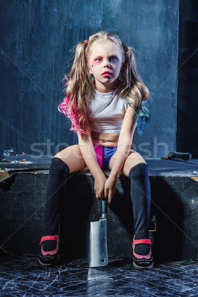 Horror lövés ijesztő gonosz lány véres Stock fotó © master1305