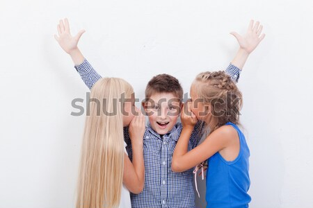 Teenage girsl whispering in the ears of a secret teen boy on white  background Stock photo © master1305
