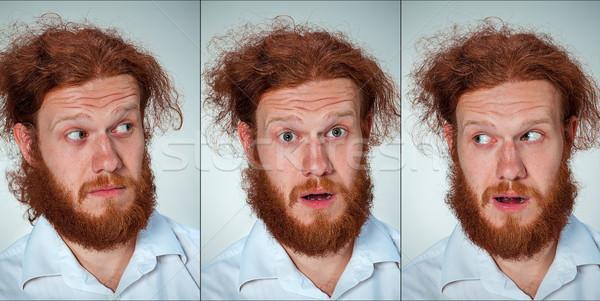 肖像 若い男 表情 長い ストックフォト © master1305