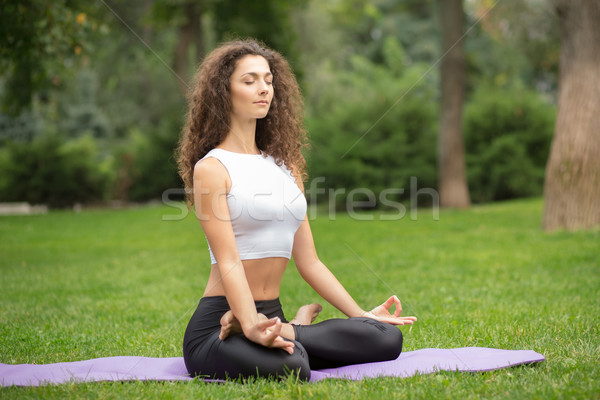 Pretty woman doing yoga meditation in the lotus position Stock photo © master1305