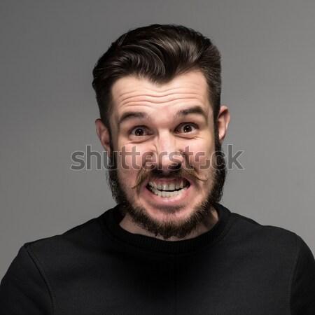 Portret jonge onzeker zakenman mond Stockfoto © master1305