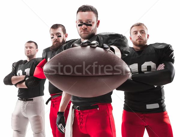 Stok fotoğraf: Dört · amerikan · futbol · oyuncular · poz · top