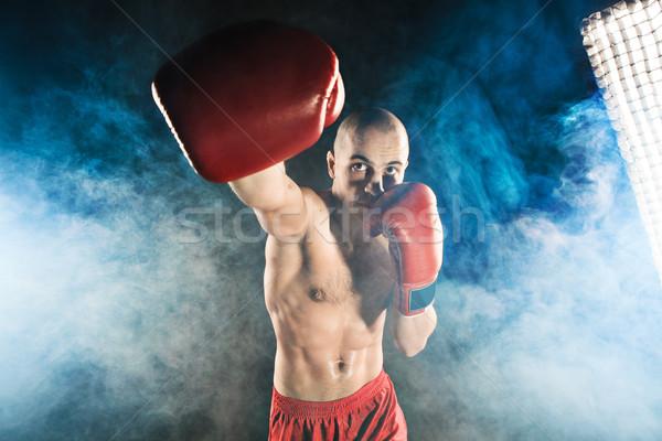 Genç kickboks mavi duman genç erkek Stok fotoğraf © master1305