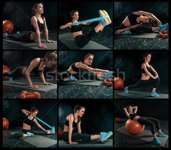 コラージュ 美しい スリム ブルネット 体操 ストックフォト © master1305