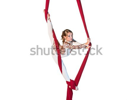 Young woman doing anti-gravity aerial yoga Stock photo © master1305