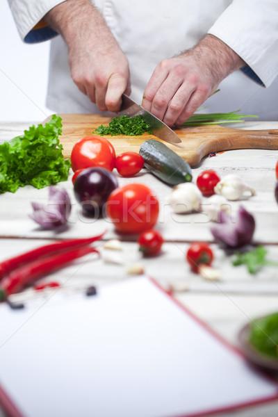Szakács vág zöld petrezselyem konyha kezek Stock fotó © master1305