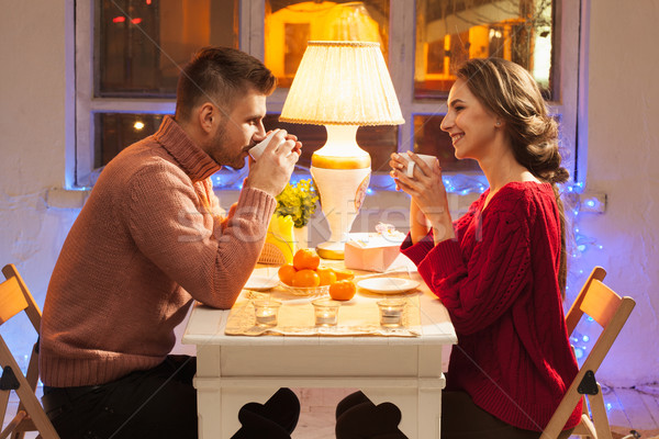 Portrait of romantic couple at Valentine's Day dinner Stock photo © master1305