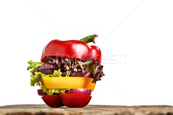 Healthy sandwich with fresh pepper, onion, salad lettuce. Detox diet. Stock photo © master1305