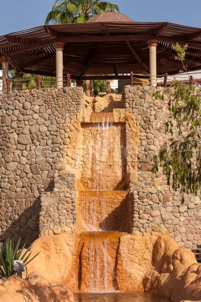 Houten waterval Egypte hemel water palm Stockfoto © master1305