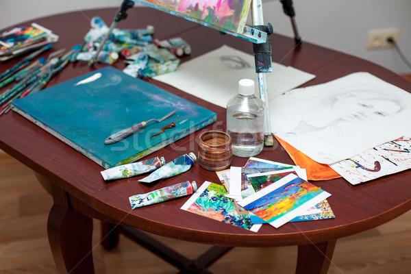 Ferramentas artista escolas pintar vida estudar Foto stock © master1305