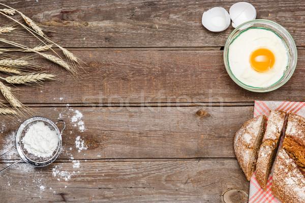 Brot Holz Laib Roggen Mehl Eier Stock foto © master1305