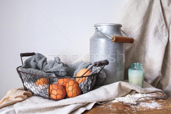 Hozzávalók torta fehér pamut szövet tej Stock fotó © master1305