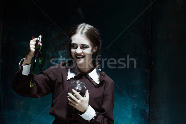 Halloween gek meisje slangen portret jong meisje Stockfoto © master1305