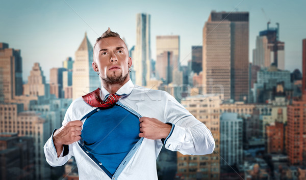 businessman acting like  super hero and tearing his shirt off Stock photo © master1305