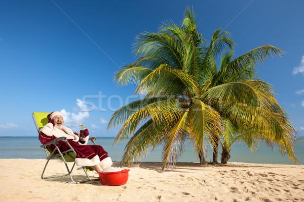 サンタクロース 座って デッキ 椅子 ビーチ 晴れた ストックフォト © master1305