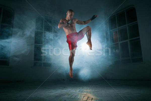 Giovane kickboxing blu fumo giovani maschio Foto d'archivio © master1305