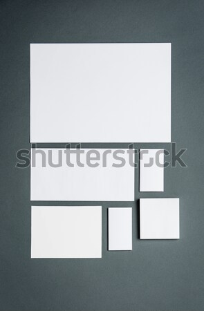 Stock photo: Mock-up business template with cards, papers. Gray background.