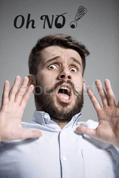 человека испуг серый синий рубашку Сток-фото © master1305