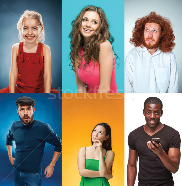 Portrait of young man, woman with different facial expression Stock photo © master1305