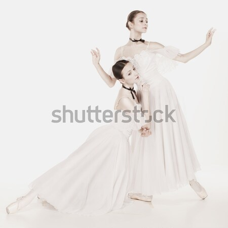 Two young ballet dancers practicing. attractive dancing performers  in white  Stock photo © master1305