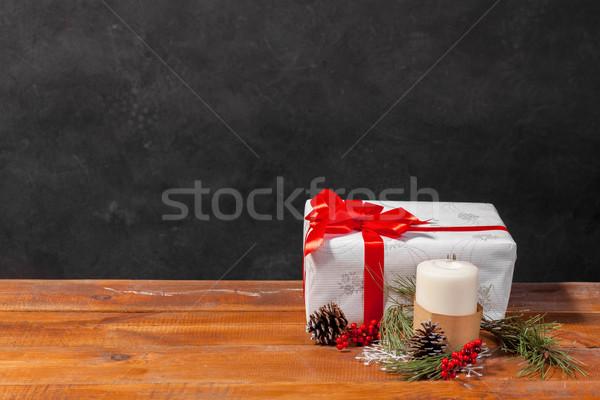 Tavolo in legno Natale decorazioni regalo spazio inverno Foto d'archivio © master1305