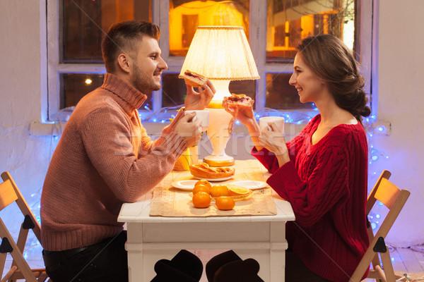 Stock fotó: Portré · romantikus · pár · valentin · nap · vacsora · gyertyák