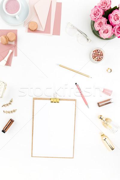 Сток-фото: натюрморт · моде · женщину · объекты · белый · Top