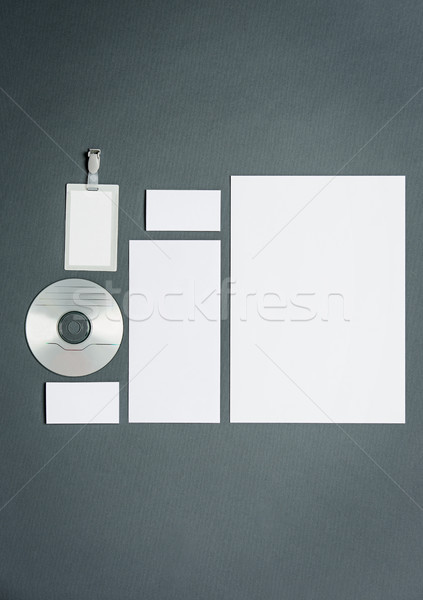 Mock-up business template with cards, papers, disk. Gray background. Stock photo © master1305