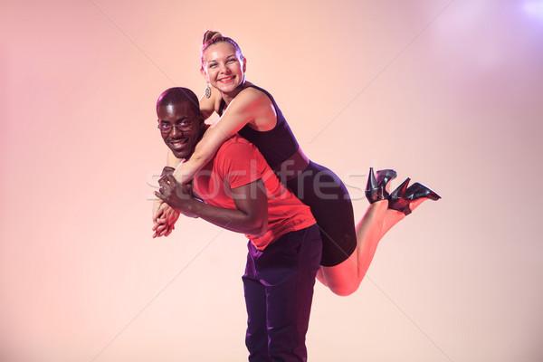 小さな クール 黒人男性 白 女性 赤 ストックフォト © master1305