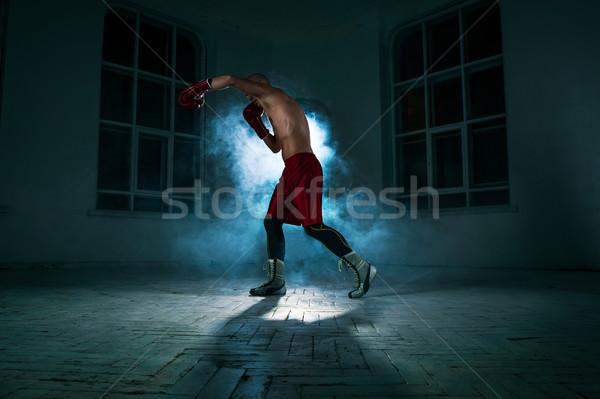 若い男 キックボクシング 青 煙 小さな 男性 ストックフォト © master1305