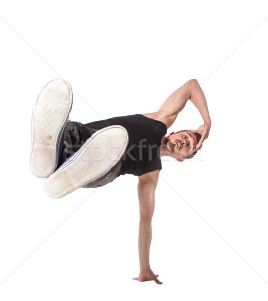 Pauze danser een handstand witte man Stockfoto © master1305