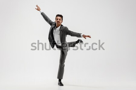 The young attractive modern ballet dancer jumping on white background Stock photo © master1305