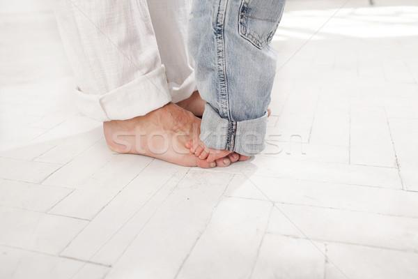 Nueve meses edad hijo pies pequeño Foto stock © master1305