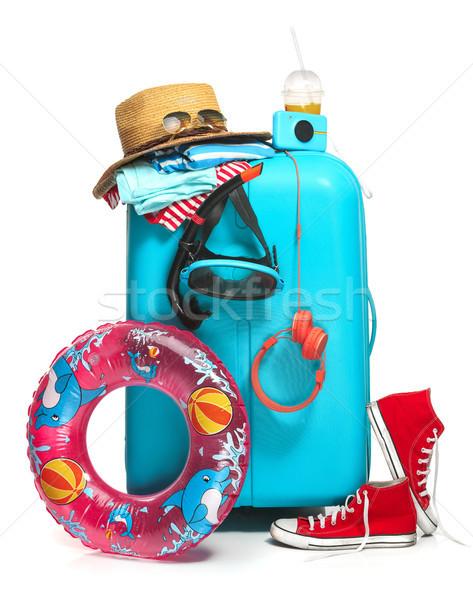 Blau Koffer Turnschuhe hat Gummi Ring Stock foto © master1305