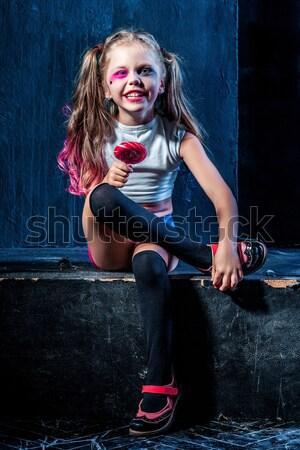 Halloween kız beysbol sopası hazır kadın mutlu Stok fotoğraf © master1305