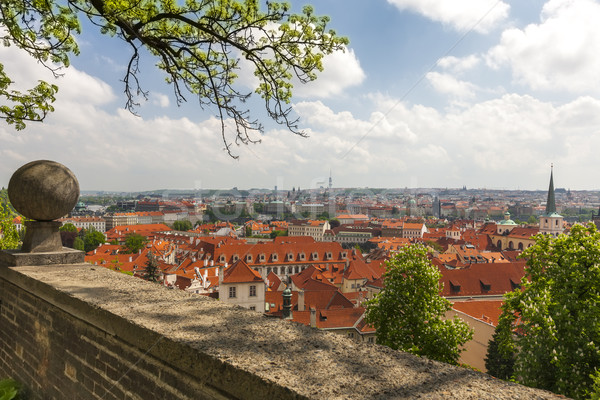 Luchtfoto oude binnenstad Praag Tsjechische Republiek huis klok Stockfoto © master1305