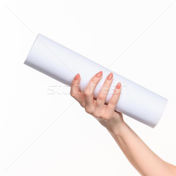 The cylinder female hands on white background Stock photo © master1305