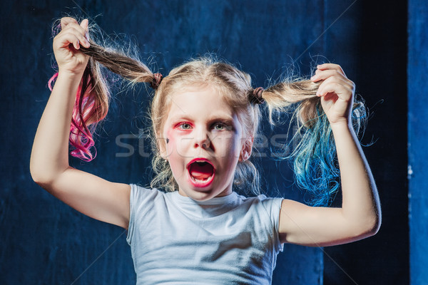 The funny crasy girl on dark background Stock photo © master1305